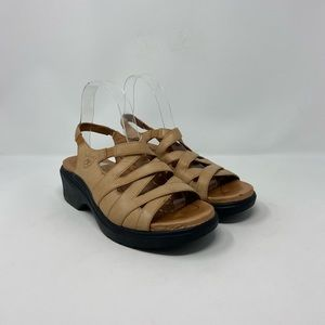 Ariat Tan Leather Strappy Comfort Clog Sandals